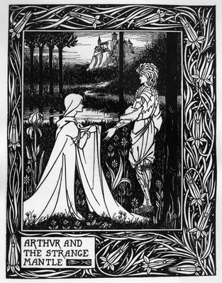 Arthur and the strange mantle, an illustration from 'Le Morte d'Arthur' by Sir Thomas Malory, 1893-94