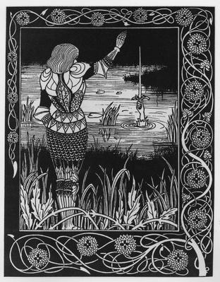 How Sir Bedivere Cast the Sword Excalibur into the Water, an illustration from 'Le Morte d'Arthur' by Sir Thomas Malory, 1893-94