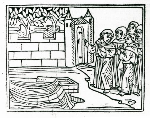 The monks depart Ireland in search of the island of Paradise, illustration from 'The Voyage of St. Brendan', 1499