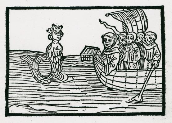 St. Brendan and the Siren, illustration from 'The Voyage of St. Brendan', 1499
