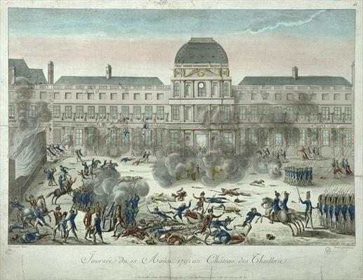 Chateau des Tuileries, 10th August 1792, engraved by Jourdan
