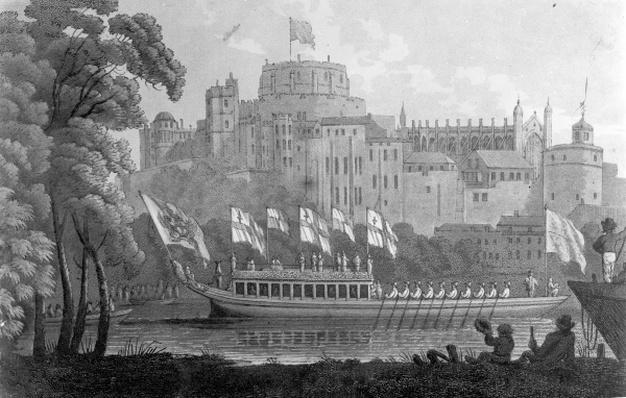 City of London State Barge moving up the River Thames, in front of Windsor Castle, on it's way to Oxford, after a watercolour of 1812
