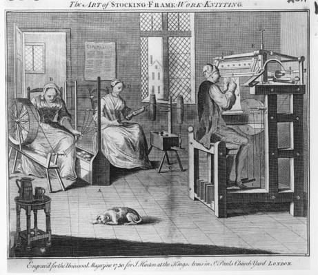 The Art of Stocking-Frame-Work-Knitting, engraved for the 'Universal Magazine' 1750