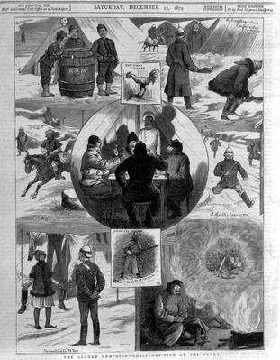 The Afghan Campaign- Christmas Tide at the Front, cover illustrations from 'The Graphic', December 27th 1879