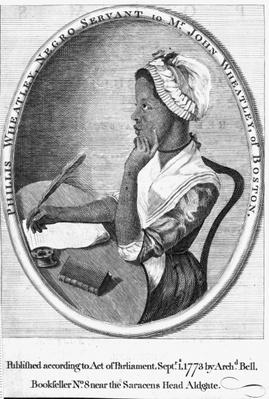 Phillis Wheatley, frontispiece to her 'Poems on various subjects', 1773
