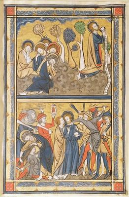 The Agony in the Garden and the Betrayal of Christ, leaf from a psalter, c.1270