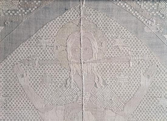 Detail of an altarcloth with Christ of the Apocalypse, second half of the 14th century