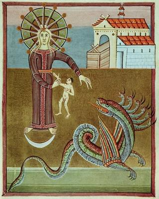 The woman clothed with the sun being attacked by the dragon with seven heads, facsimile of the Bamberg Apocalypse