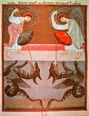 The angels accompanying St. Michael attack the dragons, facsimile of the Bamberg Apocalypse