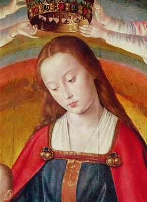 The Virgin Mary with her Crown, detail of the Coronation of the Virgin, centre panel from the Bourbon Altarpiece, c.1498