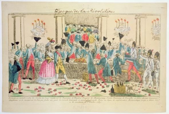 Banquet given on 1 October 1789 at the Versailles Opera House by the King's bodyguards to welcome the arrival of the Flanders Regiment to help in support of and protection of the French royal family