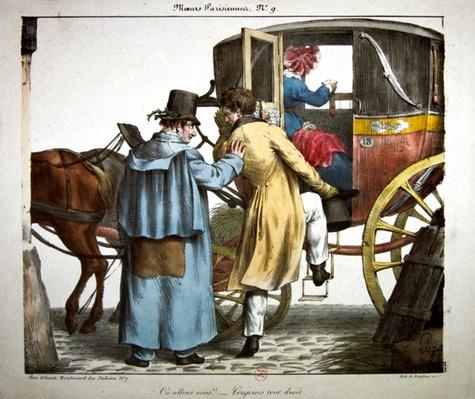 'Where are we going?...'Always straight ahead', caricature from the 'Moeurs Parisiennes' series, engraved by Langlume, c.1825