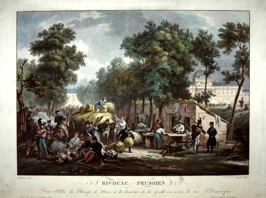 Prussian soldiers bivouacking in the Champs de Mars, Paris in 1871, engraved by Jazet