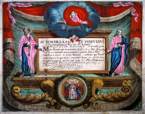 Marriage Certificate for Claude Monnard issued at Lyon in 1672