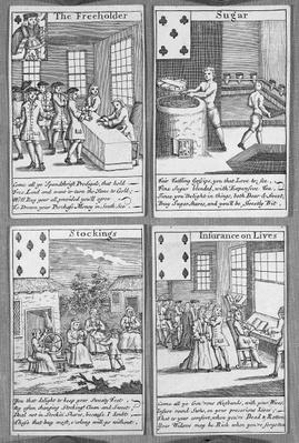 Playing Cards depicting current commercial ventures, c.1720