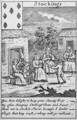 Playing Card showing workers making stockings