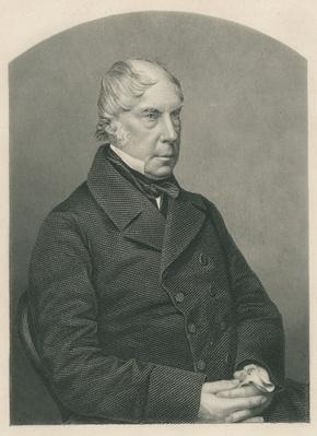 George Hamilton-Gordon, 4th Earl of Aberdeen, engraved by D.J. Pound from a photograph, from 'The Drawing-Room of Eminent Personages, Volume 2', published in London, 1860