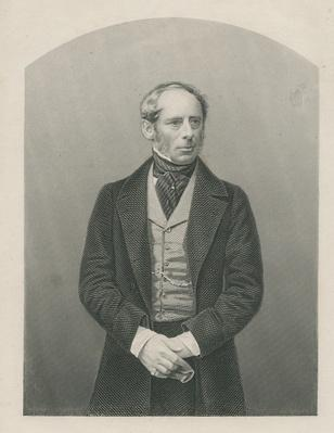 Sir John Somerset Pakington engraved by D.J. Pound from a photograph, from 'The Drawing-Room of Eminent Personages, Volume 2', 1860