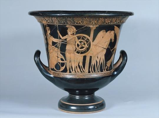 Attic red-figure kalyx krater depicting a Hoplite leaving for the war