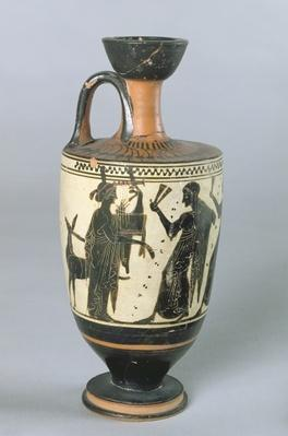 Attic black-figure lekythos depicting Apollo and his Muses