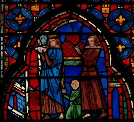 Louis IX carrying relics into Sainte-Chapelle, assisted by Robert D'Artois, 1246-48