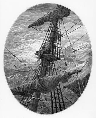 The Mariner up the mast during a storm, scene from 'The Rime of the Ancient Mariner' by S.T. Coleridge, published by Harper & Brothers, New York, 1876