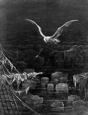 The albatross is shot by the Mariner, scene from 'The Rime of the Ancient Mariner' by S.T. Coleridge, by S.T. Coleridge, published by Harper & Brothers, New York, 1876