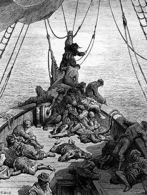 The sailors becalmed and tormented by thirst, scene from 'The Rime of the Ancient Mariner' by S.T. Coleridge, by S.T. Coleridge, published by Harper & Brothers, New York, 1876