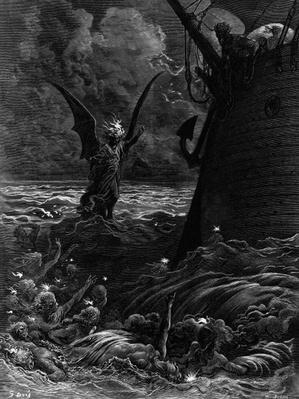 Death-fires dancing around the becalmed ship, scene from 'The Rime of the Ancient Mariner' by S.T. Coleridge, by S.T. Coleridge, published by Harper & Brothers, New York, 1876