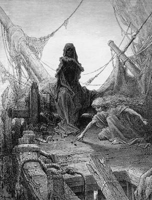 The 'Night-mare Life-in-Death' plays dice with Death for the souls of the crew, scene from 'The Rime of the Ancient Mariner' by S.T. Coleridge, published by Harper & Brothers, New York, 1876