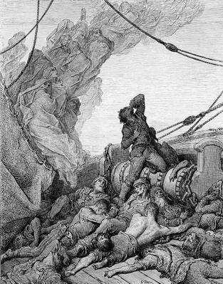 The Mariner, surrounded by the dead sailors, suffers anguish of spirit, scene from 'The Rime of the Ancient Mariner' by S.T. Coleridge, published by Harper & Brothers, New York, 1876