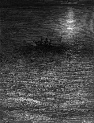 The marooned ship in a moonlit sea, scene from 'The Rime of the Ancient Mariner' by S.T. Coleridge, published by Harper & Brothers, New York, 1876