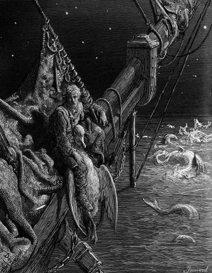 The Mariner gazes on the serpents in the ocean, scene from 'The Rime of the Ancient Mariner' by S.T. Coleridge, published by Harper & Brothers, New York, 1876