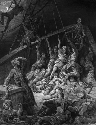 The dead sailors rise up and start to work the ropes of the ship so that it begins to move