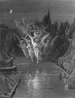 The angelic spirits leave the dead bodies and appear in their own forms of light, scene from 'The Rime of the Ancient Mariner' by S.T. Coleridge, published by Harper & Brothers, New York, 1876