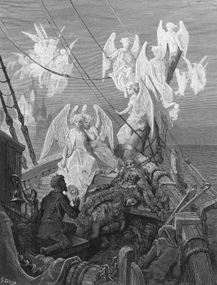 The mariner sees the band of angelic spirits, scene from 'The Rime of the Ancient Mariner' by S.T. Coleridge, published by Harper & Brothers, New York, 1876