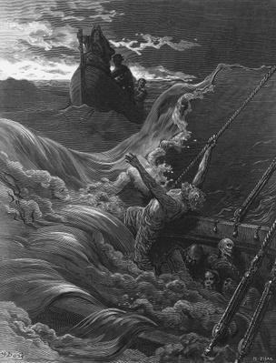 The mariner, as his ship is sinking, sees the boat with the Hermit and Pilot, scene from 'The Rime of the Ancient Mariner' by S.T. Coleridge, published by Harper & Brothers, New York, 1876