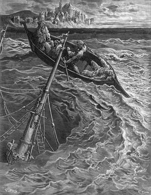 The ship sinks but the Mariner is rescued by the Pilot and Hermit, scene from 'The Rime of the Ancient Mariner' by S.T. Coleridge, published by Harper & Brothers, New York, 1876