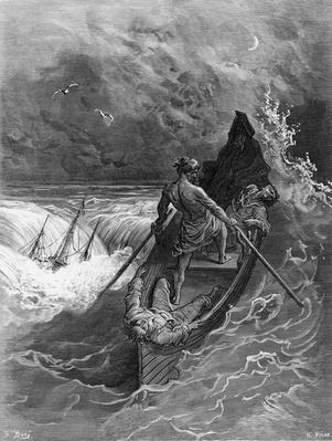 The Pilot faints, scene from 'The Rime of the Ancient Mariner' by S.T. Coleridge, published by Harper & Brothers, New York, 1876