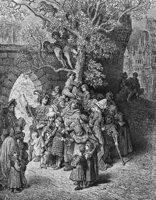 Crowd of onlookers and spectators at the wedding, scene from 'The Rime of the Ancient Mariner' by S.T. Coleridge, published by Harper & Brothers, New York, 1876