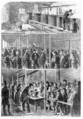 The Society of Friends' Soup Kitchen, Ball Street, Lower Moseley Street, Manchester, 1862, from the Illustrated London News
