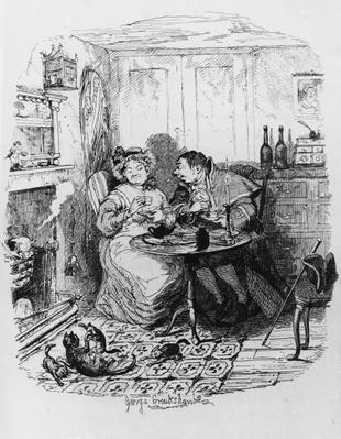 Mr Bumble and Mrs Corney taking tea, from 'The Adventures of Oliver Twist' by Charles Dickens