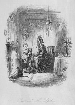 Paul and Mrs. Pipchin, illustration from 'Dombey and Son' by Charles Dickens