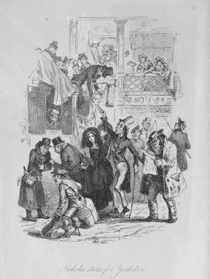 Nicholas starts for Yorkshire, illustration from `Nicholas Nickleby' by Charles Dickens