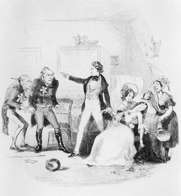 Nicholas congratulates Arthur Gride on his wedding morning, illustration from `Nicholas Nickleby' by Charles Dickens