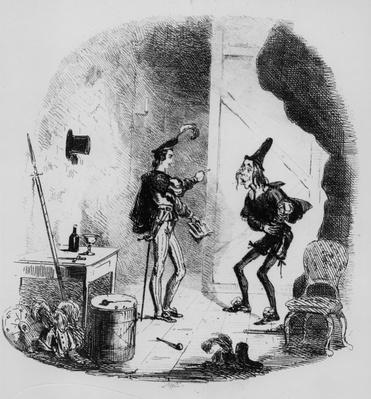 Nicholas instructs Smike in the art of acting, illustration from `Nicholas Nickleby' by Charles Dickens