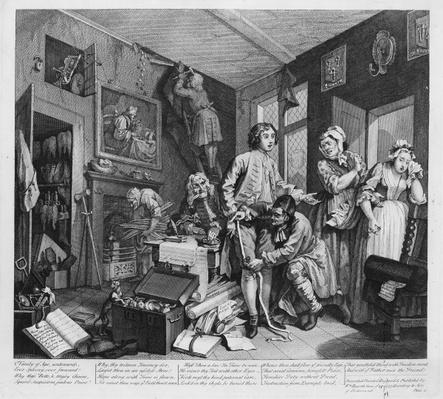 The Young Heir Takes Possession of the Miser's Effects, plate I from 'A Rake's Progress', 1735