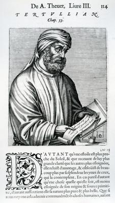 Tertullian, illustration from Andre Thevet's 'Des vrais pourtaits et vies des hommes illustres', 1584