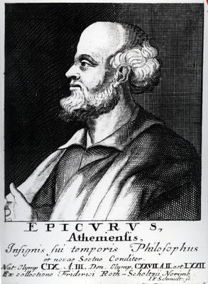 Epicurus, engraved by Johann Fredrich Schmidt