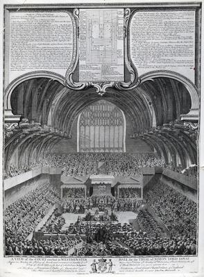 Trial of Simon Fraser, Lord Lovat, in Westminster Hall, engraved by James Basire, 1747
